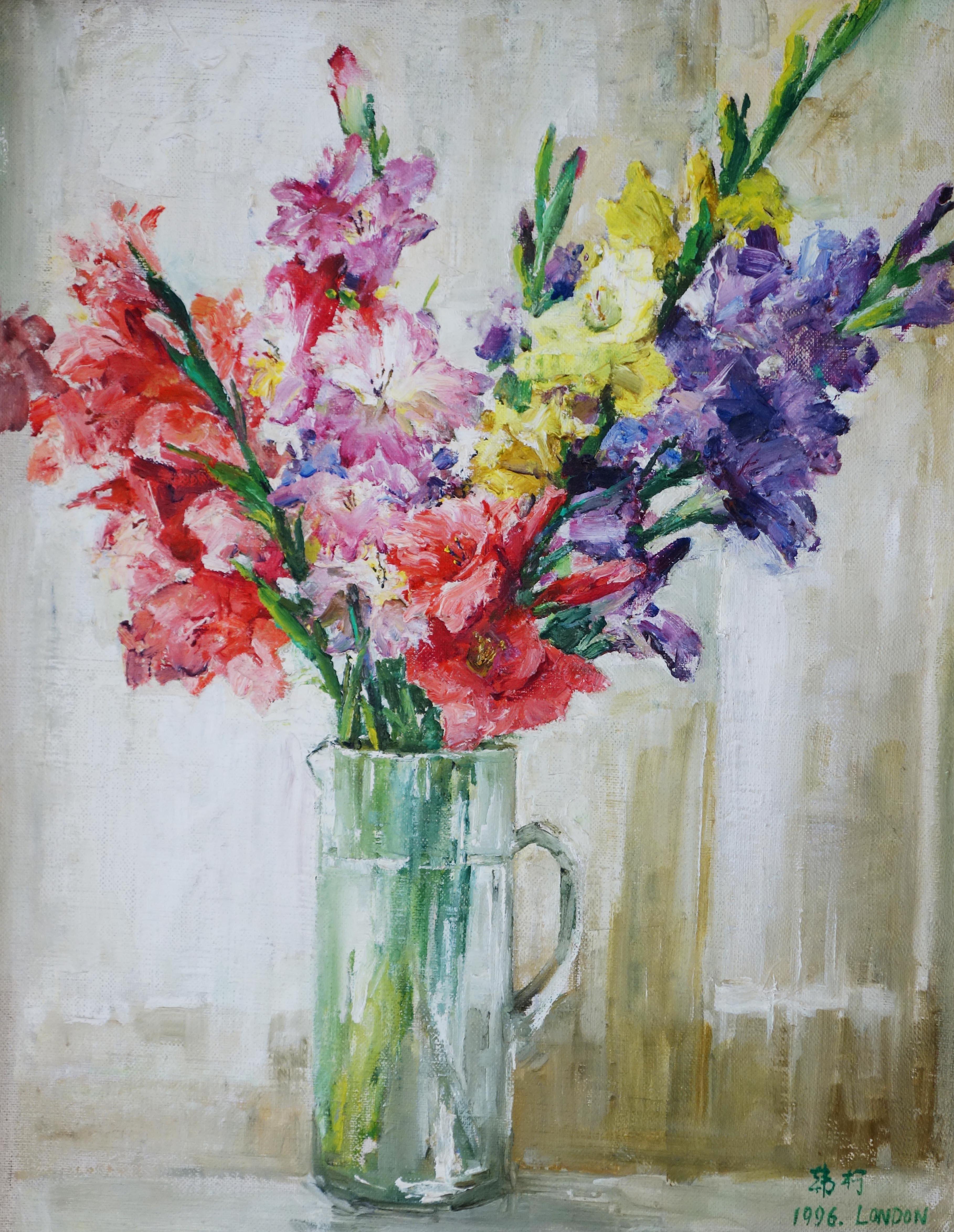 朝鲜花卉风景油画