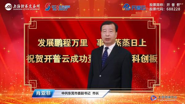 中共东莞市委副书记、市长肖亚非先生致辞